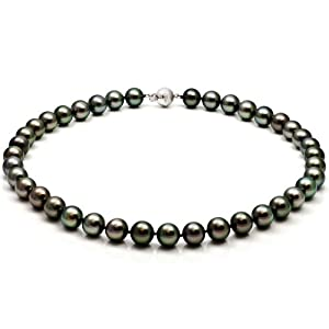 14k White Gold 11-8.5mm Black South Sea Tahitian Pearl Perfect Round AAA Quality 18