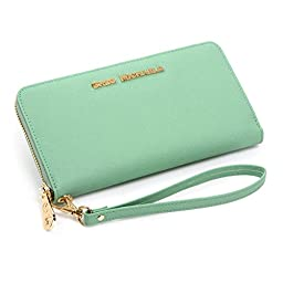 Jessica Saffiano Wallet Clutch by Greg Michaels (Green Mint)