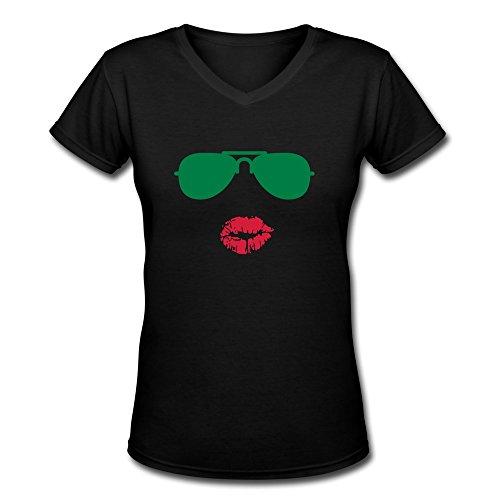 Tasy 100% Cotton V-Neck Women'S Sunglasses Kisses T-Shirt - L Black