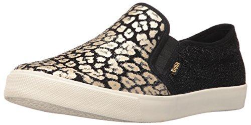 Gola Women's Orchid Safari Slip Fashion Sneaker, Black/Gold/Leopard, 7 M US