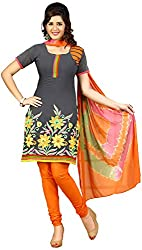 Raahi Unstitched Grey Cotton Embroidered Dress Material - Salwar Suit