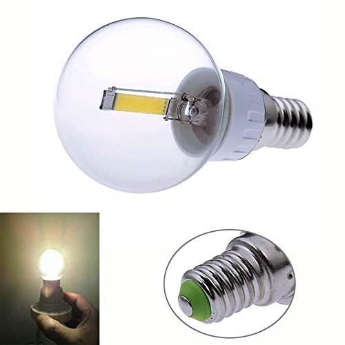 Keyzone E14 1.6W Cob Led Filament Transparent Bulb Globe Light Lamp Warm White 2800K