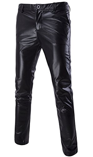 Mada Men's Skinny Night Club Metallic Faux Leather Pants Asian X-Large Black (Parachute Pants With Zippers compare prices)