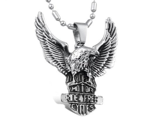 Atlas Jewels Ride Free Stainless Steel Eagle Pendant Necklace