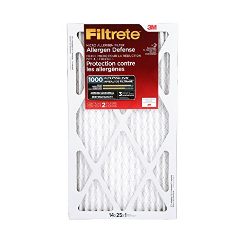 Filtrete Micro Allergen Defense Filter, MPR 1000, 14-Inch x 25-Inch x 1-Inch, 2-pack (Air Filter 14 X 25 compare prices)
