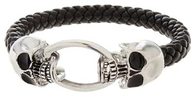 Bracelet - Double Skull Black Leather and Silvertone Cuff Bracelet from Silver Skull Bracelet