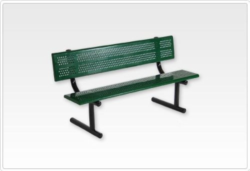 Sports Play 601-677 6 Standard Bench with Back - Beveled Edge Perforated Steel