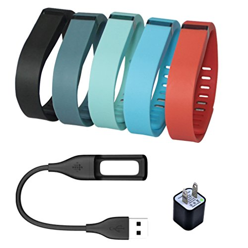 Bandcase Set Size Large 1pc Black 1pc Slate 1pc Red (Tangerine) 1pc Teal 1pc Blue Replacement Bands with Clasps for Fitbit Flex Only /No Tracker/ Wireless Activity Bracelet Sport Wristband Fit Bit Flex Bracelet Sport Arm Band Armband with a Charge Cable and a Charging Adapter