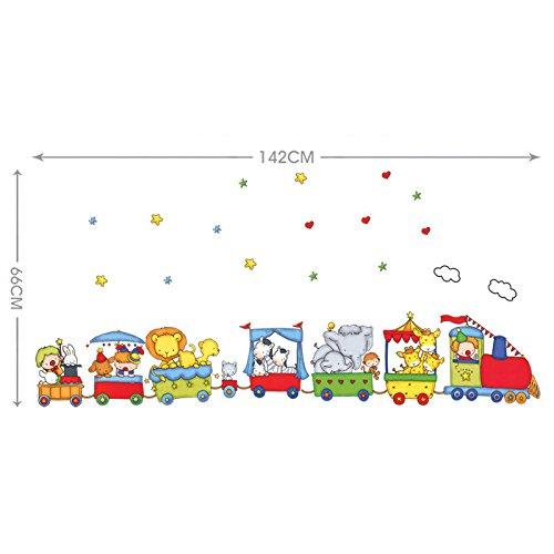 Ufengke cartone animato animale treno adesivi murali