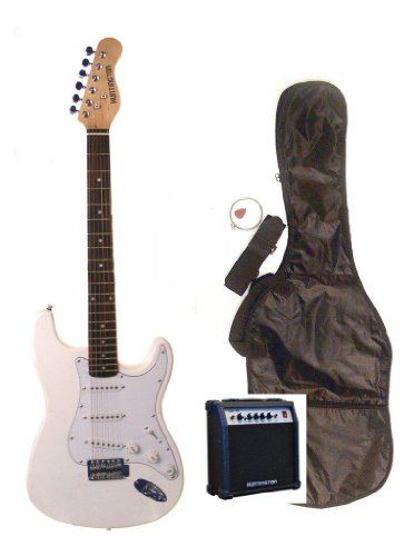"39"" Full Size White Electric Guitar With 10 Watt Amp (Includes, Gig Bag, Whammy Bar, Strap, Cable, Pick, Strings & Directlycheap(Tm) Translucent Blue Medium Guitar Pick)"
