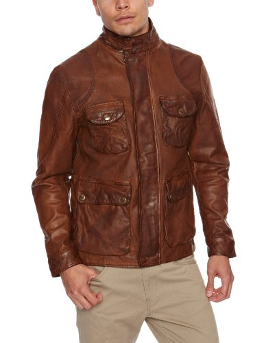 Wrangler Brown Leather Jacket Mens Jacket Shitake Small