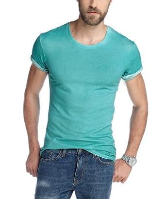 edc by ESPRIT Herren T-Shirt Slim Fit 053CC2K035, Gr. 54/56 (XL), Türkis (southern turquoise 466)