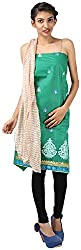 Hardy's Style Women's Cotton Silk Dress Material (HS-30, Green)