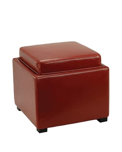 Safavieh Bobbi Tray Storage Ottoman, Red