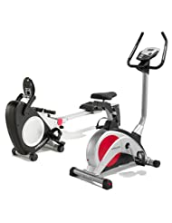 PureFitness & Sports Exercise Bike and Rowing Machine Package - Black/Silver/Red | 18 Stone User Limit | 2 Year...