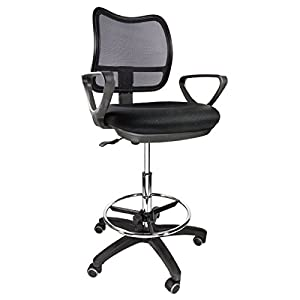 Drafting Chair Mid-Back Mesh Drafting Stool Medical with Fabric Seat/Arms (Black-)
