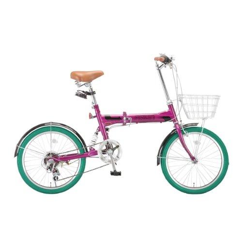 ARUN(アラン) 20インチシマノ6段変速折りたたみ自転車 [LEDライト/コイルタイプワイヤー錠/カゴ/リアサスペンション標準装備] パープル×グリーンタイヤ MSB-206AS