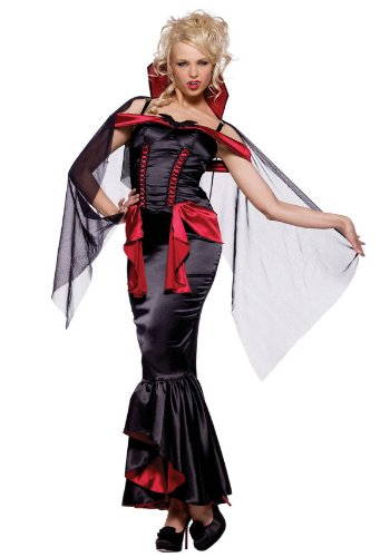 2Pc Vampire Queen Costume, Includes Long, Satin Dress, And Cape