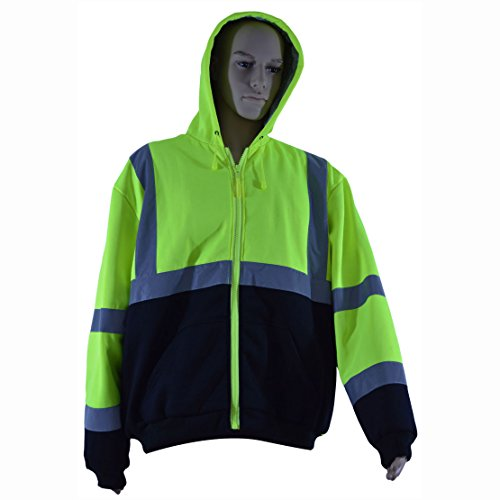 Petra Roc LBHSW-C3-XL Thermal Lined Sweatshirt Hoodie Lime/Black Two Tone, ANSI 107-Class 3, 2 Slash Pockets, Zipper Closure, XL (Roc Thermal compare prices)