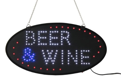 Oval Shaped Led Flashing Sign Reads Beer & Wine In Red, White And Blue Lights, 2 Illumination Options, Open Face Design, Includes Hooks And 2 Chains For Wall Or Window Mounting, 18-3/4 X 9-3/4 X 3/4-Inch