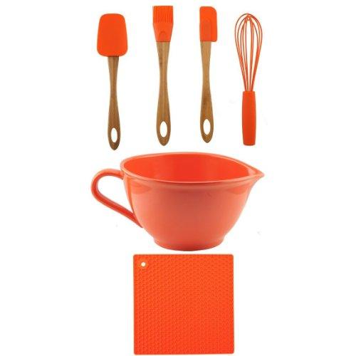 C-Orange Batter Bowl w/Trivet, Utensils Set