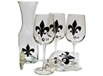 ArtisanStreet's Fleur de Lis Wine Glass & Carafe 5-piece Set. Hand Painted. Made to Order. Signed