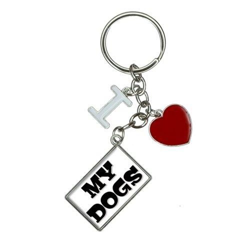 My Dogs I Heart Love Keychain Key Ring