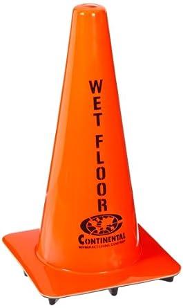 """Vinyl English """"Wet Floor Caution"""" Cone, Orange"""