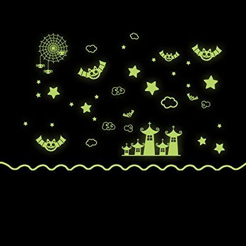 HALLOWEEN ウォールステッカー ハロウィン お城 蝙蝠 夜光 パーティー グッズ 壁 装飾 デコレーション