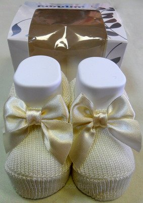 Boxed Cream Sock with Satin Ribbon