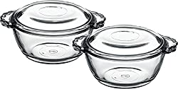 Pasabahce Round Casserole With Cover, 275 ml, Set 0f 2