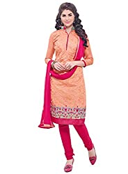 Latest Embroidered Chanderi Orange And Pink Dress Material