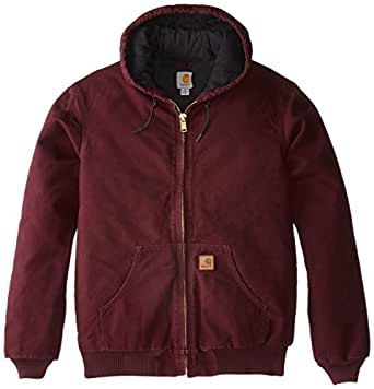 Carhartt Men's Quilted Flannel Lined Sandstone Active Jacket - J130, Port, Small
