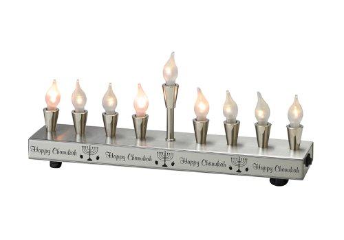 Rite Lite Judaica Contemporary Silvertone Electric Menorah