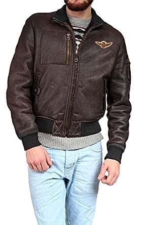 Aeronautica Militare Blouson Leather Jacket, Color: Dark Brown, Size