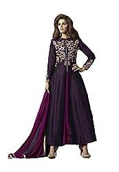 Angel Fashion Women's Tapeta Silk Unstitched Anarkali Dress Material (AF-116_Marron)
