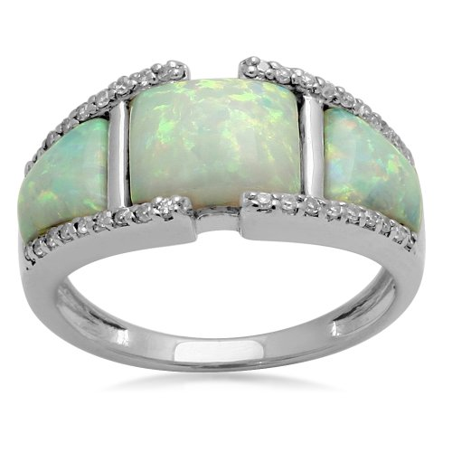 Sterling Silver and Created Opal Three Stone Ring, Size 8