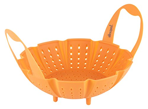 Allrecipes Silicone Steamer Basket, Orange