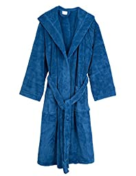 TowelSelections Super Plush Hooded Fleece Bathrobe Spa Robe for Men Large/X-Large Deep Water