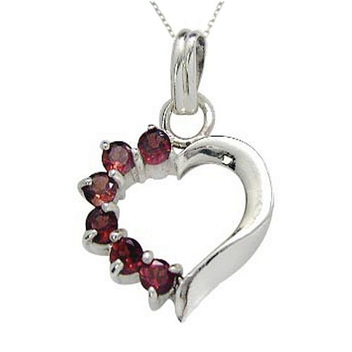 .925 Sterling Silver Garnet Gemstone Heart Pendant Necklace