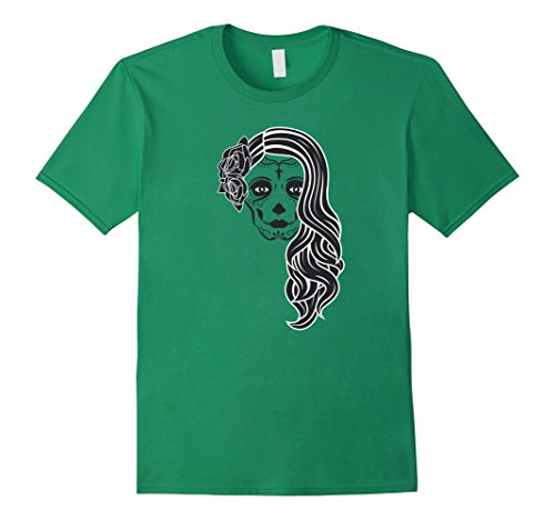 [Men's Day of the Dead Skull Lady Halloween Costume T-Shirt Tee 3XL Kelly Green] (Last Minute Awesome Halloween Costumes)