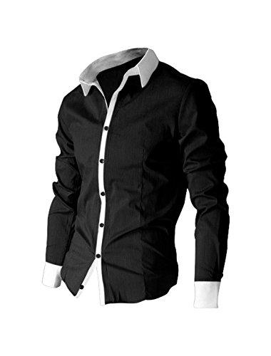 Allegra K Men Contrast Color Long Sleeves Shirt Black L