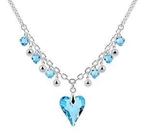 Popular Sea Blue Swarovski Austrian Crystal Love Heart Shaped 100% Genuine Swarovski Elements with Swarovski Cubic Zirconia Crystal Adorable Genuine 18k White Gold Plated Pendant Necklace Fashion Jewelry Gift for Girls for Women for Teens