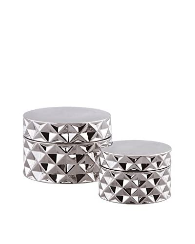 Set of 2 Visalia Ceramic Boxes, Silver