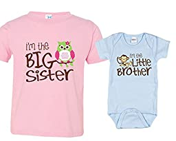 Sibling Shirt Set, Big Sister and Monkey Little Bro, Includes Size 2 and 0-3 mo