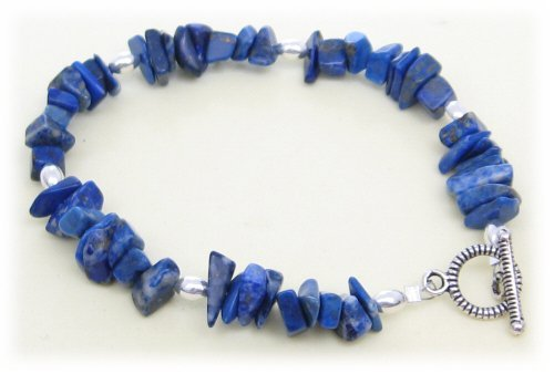 AM4703 – Unique Blue Lapis Chip Bead Bracelet by Dragonheart – 20cm
