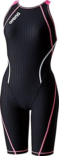 arena(アリーナ) レディース 競泳水着 練習用 タフハーフスパッツ 脚付きタイプ (着やストラップ) SAR-6100W Kブラック×ピンクE×ピンク×ホワイト L