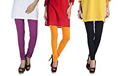 Rupa Softline Purple and Yellow and Black Cotton Leggings Combo (Pack Of 3)