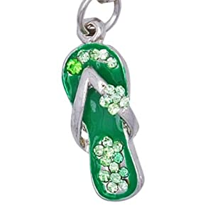 Cell / Mobile Phone / Camera Charm Strap (Green Sandal)