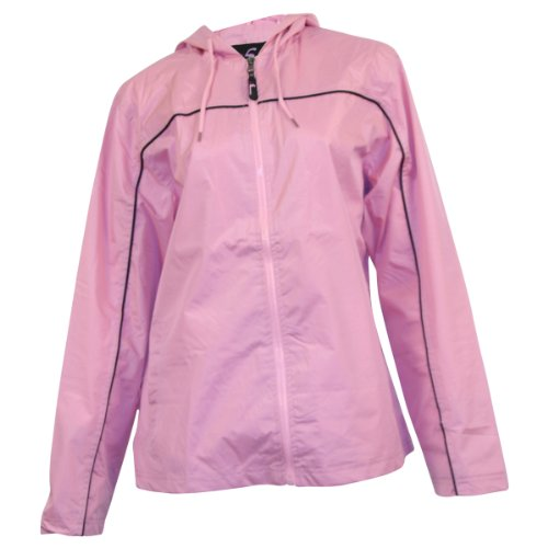 Ladies Single Piping Smart Jacket Windbreaker,Medium,Pink/Black